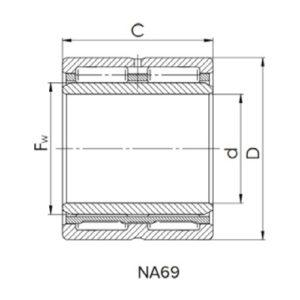 Схема игольчатого роликового подшипника NA 69