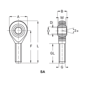 Схема наконечника тяги, шарнирной головки типа SA или POSA