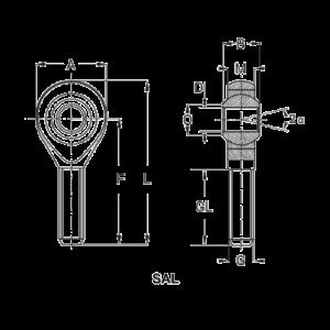 Схема наконечника тяги или шарнирной головки типа SAL или POSAL