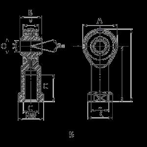 Схема наконечника тяги, шарнирной головки типа SI или PHSA