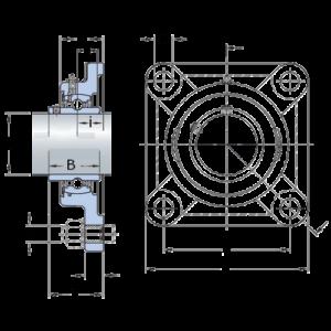Схема корпусного подшипника UCF