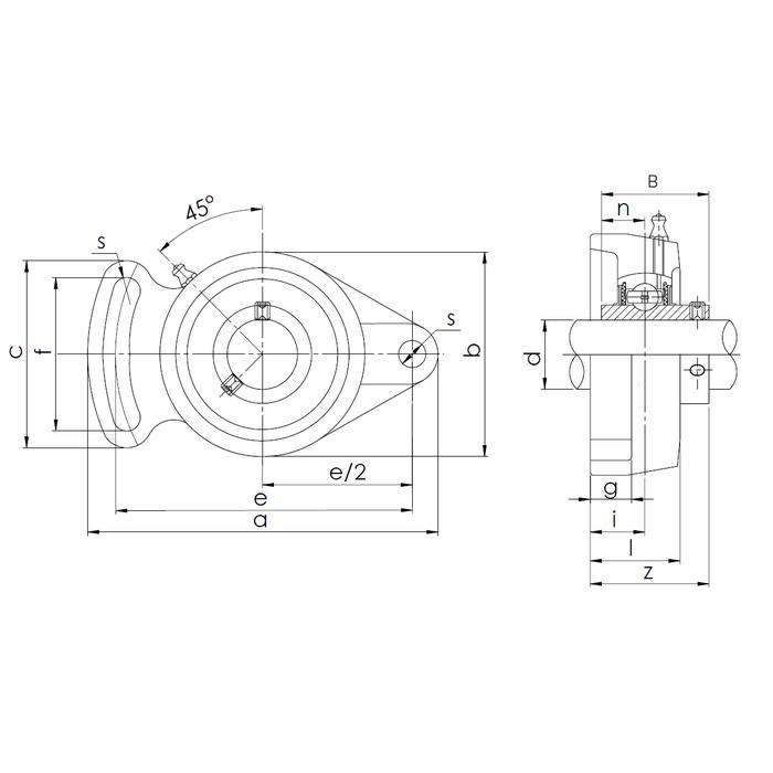 Схема корпусного подшипника UCFA208 Craft